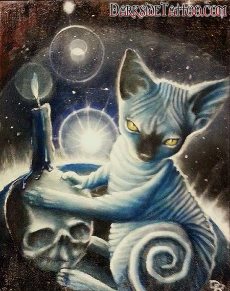 Color oil painting of Dave's Cat Anubis Piercing Thumbnail